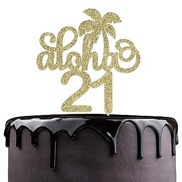Aloha 21st Birthday Cake Topper