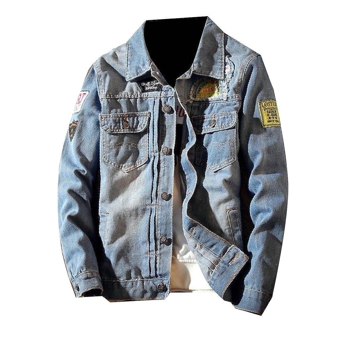 Vska Men Cowboy Fitness Patches Juniors Fashion Vintage Wash Jean Coat