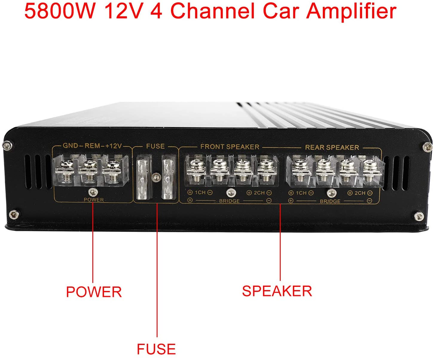 YaeCCC 5800W 12V 4 Channel Car Amplifier Stereo Audio Super Bass Power Subwoofer Amp