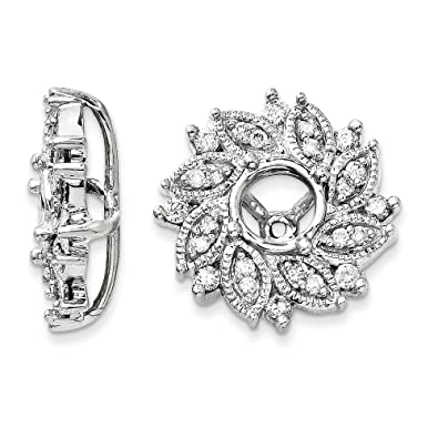 Amazon 14k White Gold Diamond Flower Earring Jacket 059ct H
