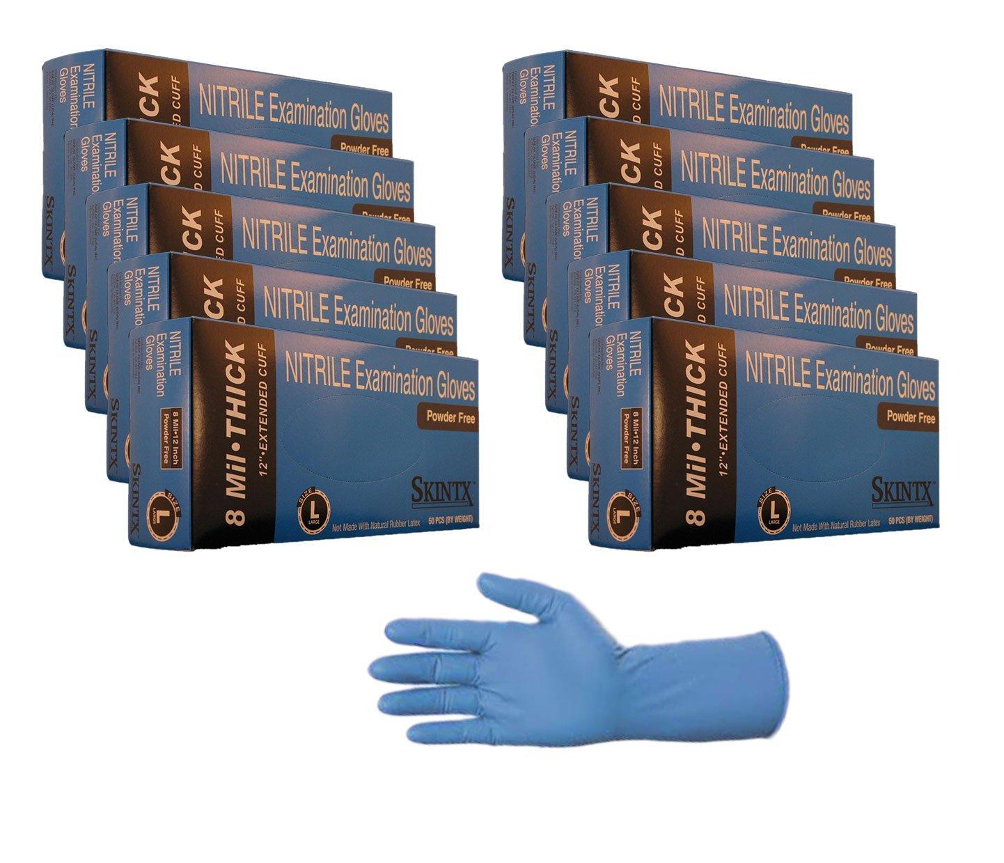 Powder Free Sizes Skintx High Risk Heavy Duty Nitrile Gloves 150, Large 8 mil TG Medical ET50015-Lx3inners Medium-2X-Large,