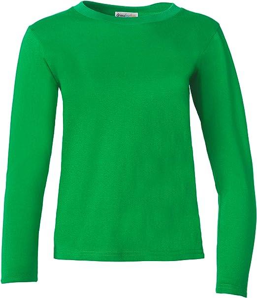 dressforfun 901005 Camiseta para Mujer Manga Larga, Cuello Redondo, 100% Algodón, Ropa Deportiva -Varios Modelos - (XXL |Verde |Nr. 304184): Amazon.es: Productos para mascotas