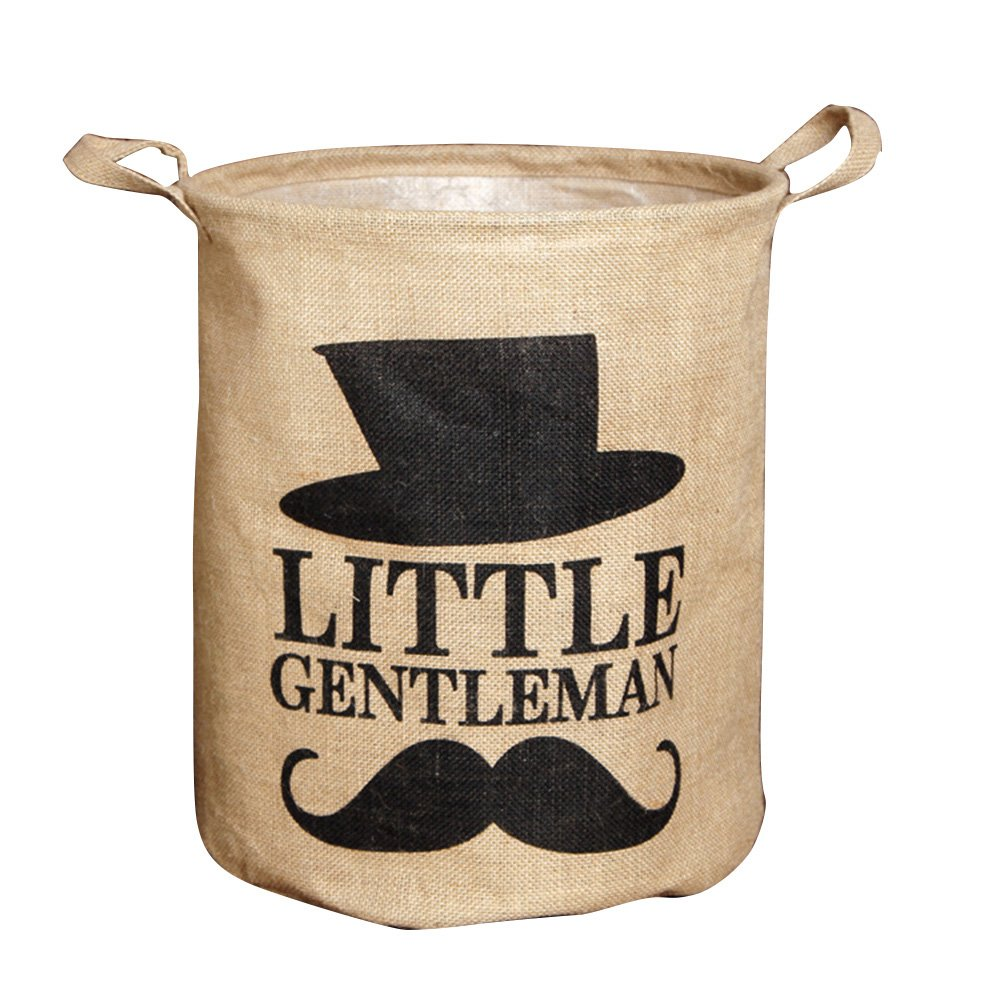 Yiuswoy Vintage Jute Laundry Hamper Dirty Clothes Basket Burlap Storage Bucket Folding Household Storage Bin for Baby & Kids Toys, Clothes - Little Gentleman