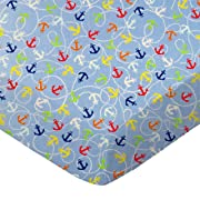 SheetWorld Fitted 100% Cotton Percale Pack N Play Sheet Fits Graco 27 x 39, Nautical Blue, Made in USA