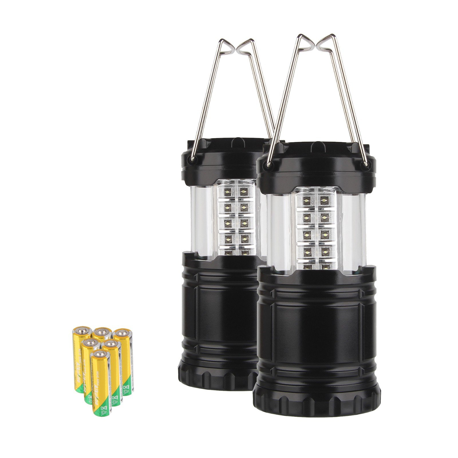 Beauty7 Pack of 2 Collapsible Portable 30LED Bright Hanging Camping Tent Lantern with 6X AA Batteries for Hiking Fishing Trekking Hurricane Storm Outage Emergency