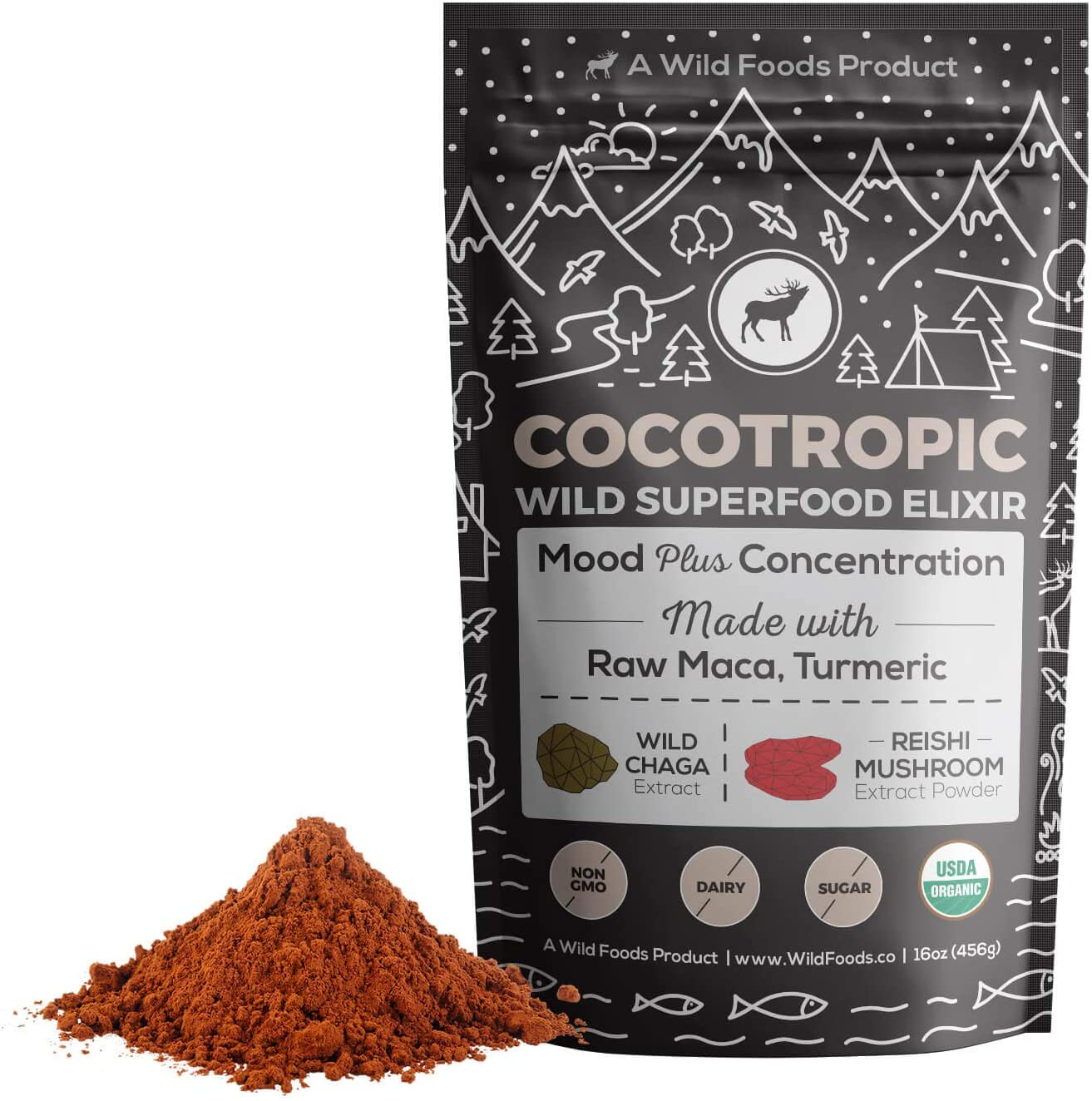 Wild Cocotropic Mushroom Drink Elixir with Cocoa, Reishi, Chaga Extract, Maca, Turmeric | Hot Nootropic Brain and Focus Mix, Add to Smoothies, Shakes, Coffee (16 Ounce)
