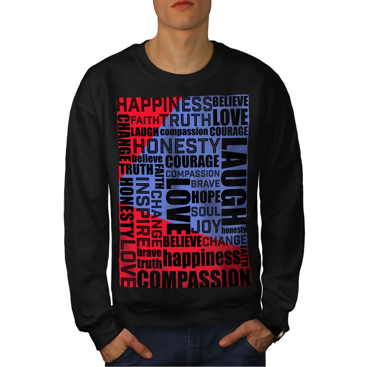 wellcoda Inspiration Love Mens Sweatshirt Positive Casual Jumper