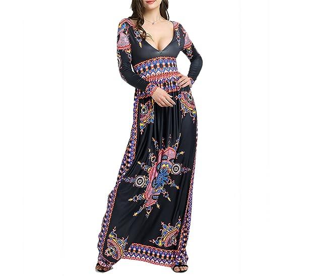 Eloise Isabel Fashion Impressão Africano Vestido Longo Para Festa À Noite profundo Decote Em V Elegante