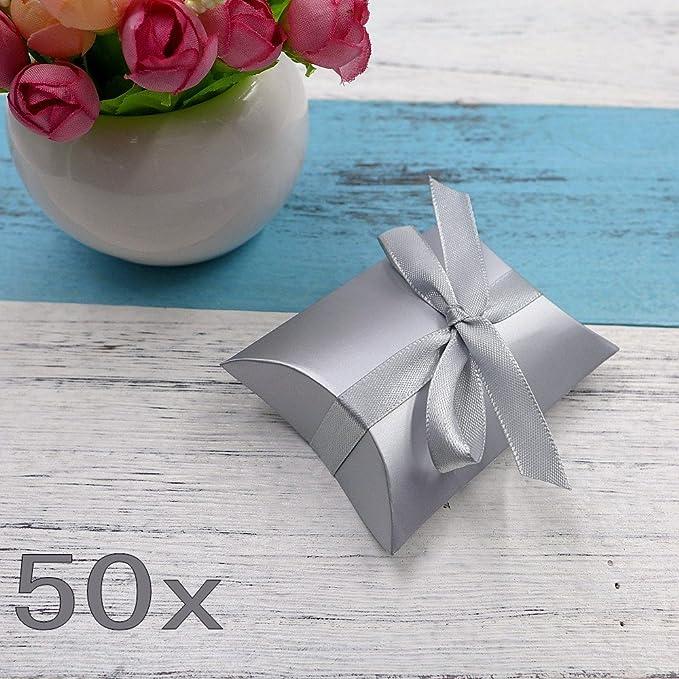 150 opinioni per JZK 50 Argento scatolina bomboniera scatola portaconfetti segnaposto per