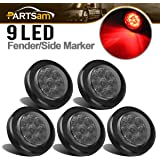 Partsam 5Pcs 2 Inch Round Led Marker Lights 9 Red Diodes Smoked w Reflectors Truck Trailer Rv Flush Mount Waterproof 12V 2 Ro