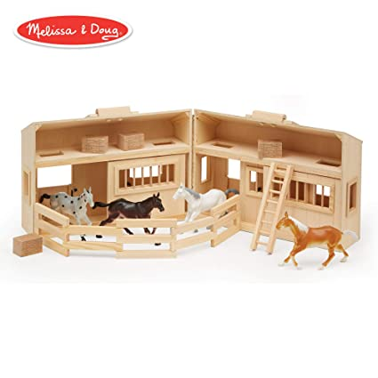 Melissa Doug Fold And Go Wooden Horse Stable Dollhouse With Handle And Toy Horses 11 Pcs