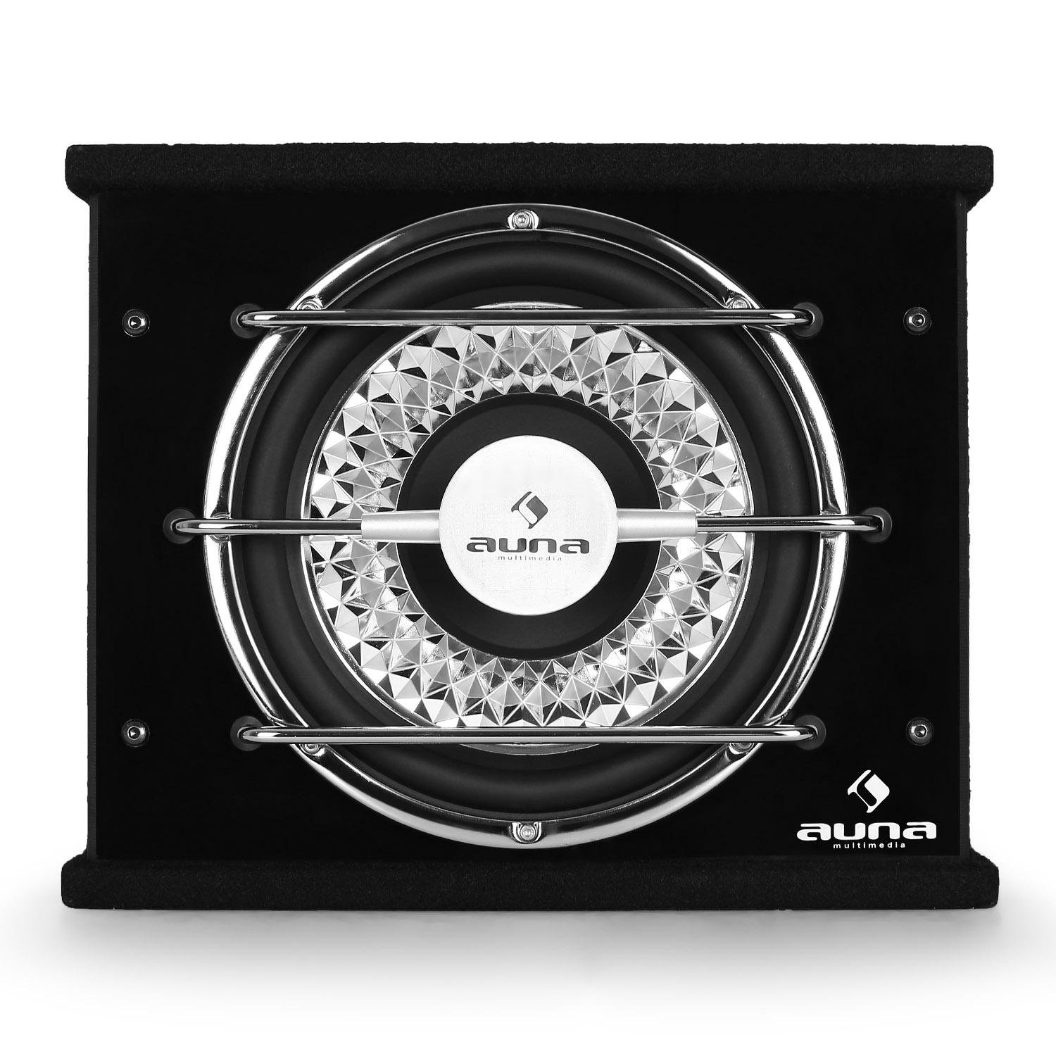 600W, 2 Powerful Bass-Reflex Tubes, 2 Voice Coil auna CD300-4BX 12 Compact Subwoofer Black//Silver
