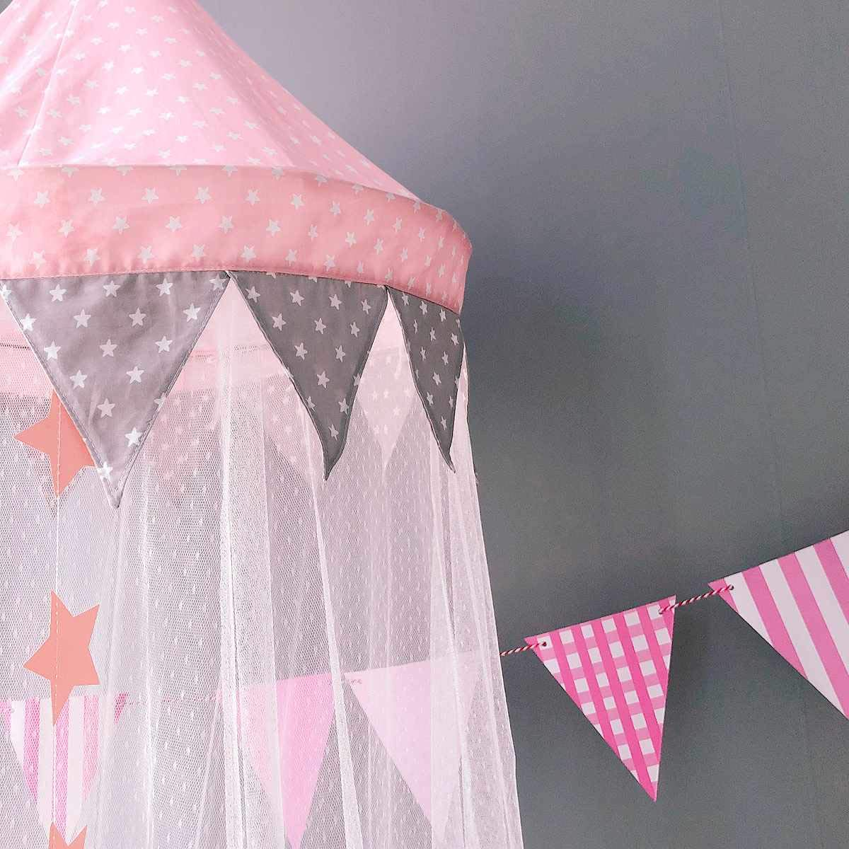 Dix-Rainbow Bed Canopy Mosquito Net Baby Crib Kids Twin Full Queen Size Bed, Reading Nook for Girls and Boys, Princess Lace Round Dome Fairy Netting Curtains, Kids Play Tent Castle Games House - Pink by Dix-Rainbow (Image #3)