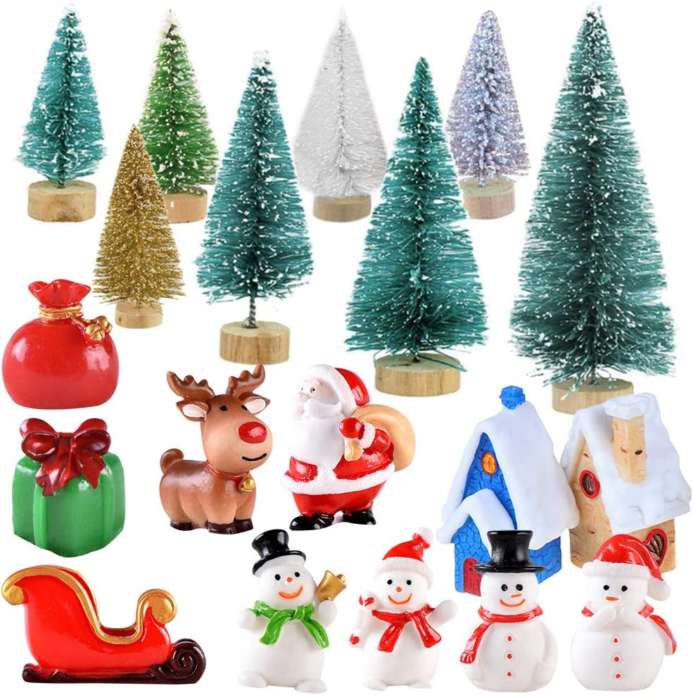 Gukasxi 27pcs Christmas Mini Ornaments Kit Xmas Miniature Figurines Set with Resin Snowman, Christmas Tree, Santa Claus, Christmas Tree for DIY Craft Projects and Fairy Garden Christmas Accessories