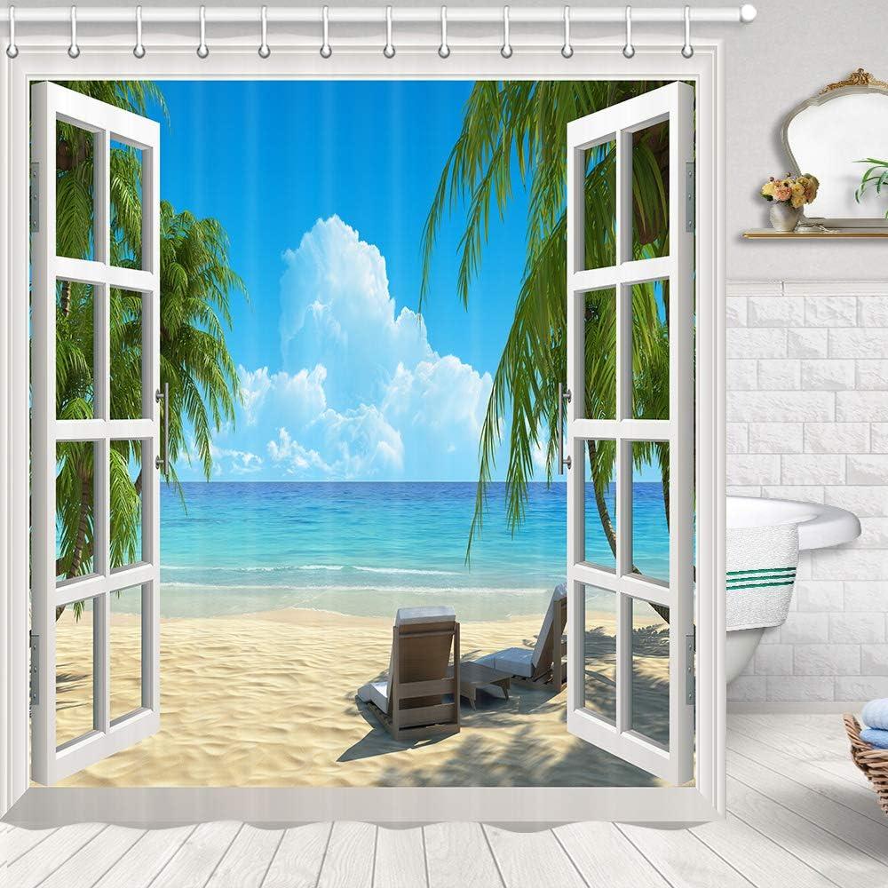 Baccessor Beach Window Scene Shower Curtain,Tropical Palm Trees on an Island Beach Nature Through White Wooden Windows,Sea Scene Island View,72 W x 72 H 180CM x 180CM Out Window Wave