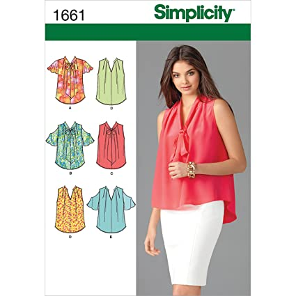 Amazon Simplicity 1661 Misses Blouses Sewing Pattern Size U5