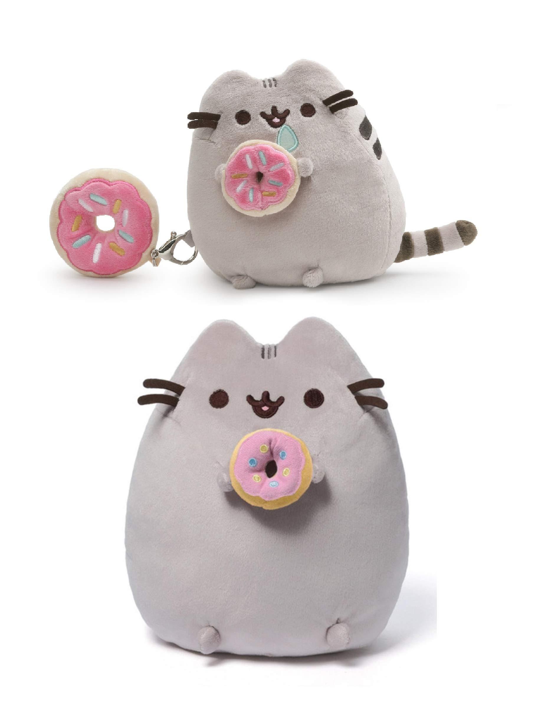 GUND 2 Piece Donut Pusheen Bundle, 6 Inch Pusheen with Clip and 9.5 Inch Plush Pusheen by GUND