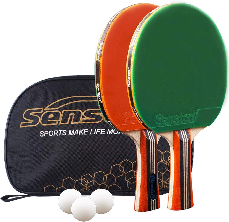 Senston Tischtennis Set Familien und Profis 6 Tischtennis-B/älle Ideal f/ür Anf/änger 4 Tischtennisschl/äger