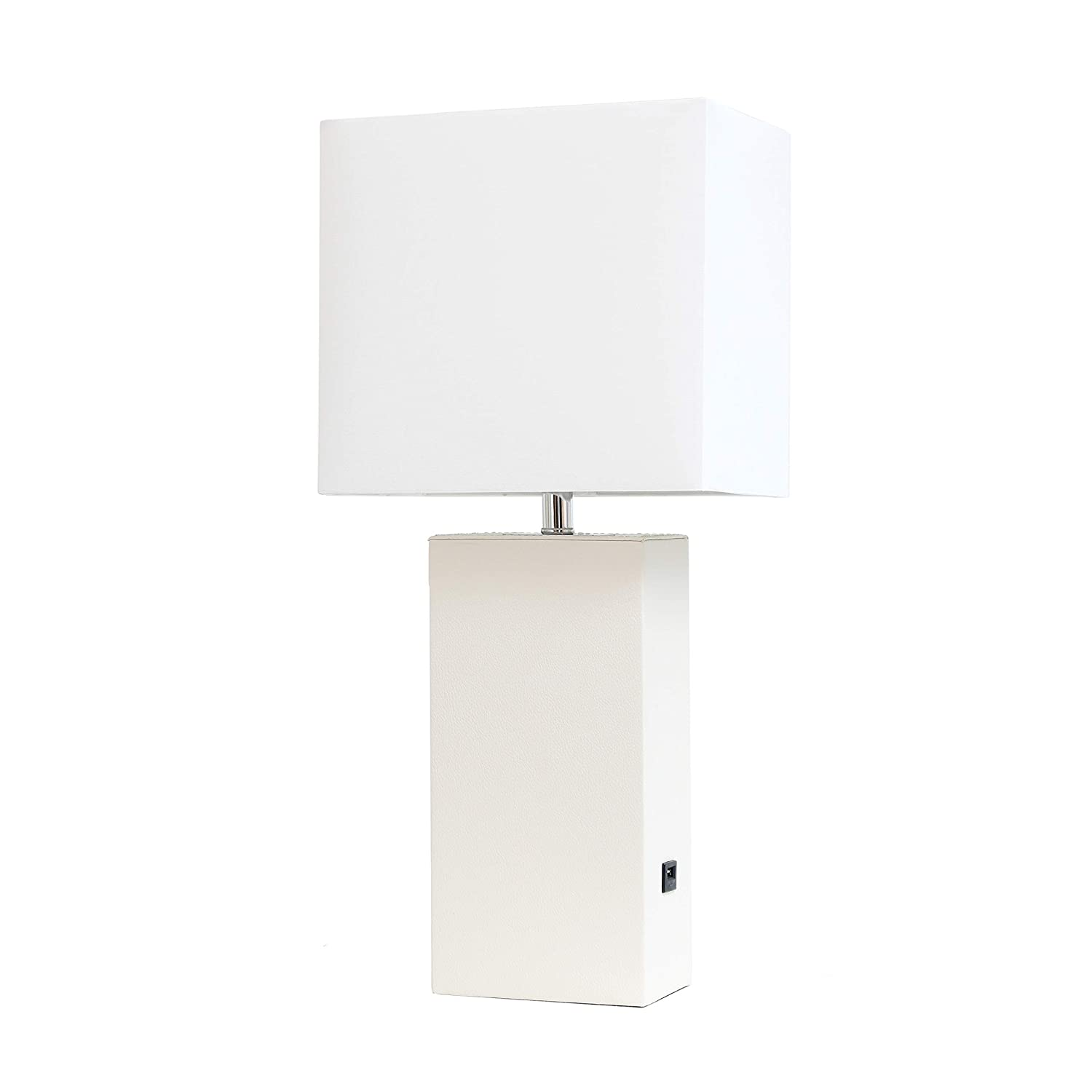 Elegant Designs LT1053-WHT Modern Leather USB and White Fabric Shade Table Lamp