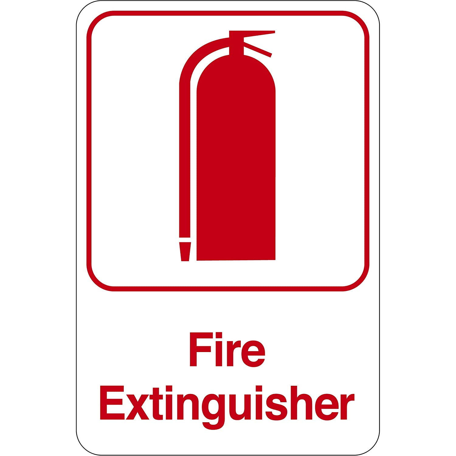 BOX USA BSN401Fire Extinguisher Facility Sign Red//White 9 x 6 9 Width 6 Length