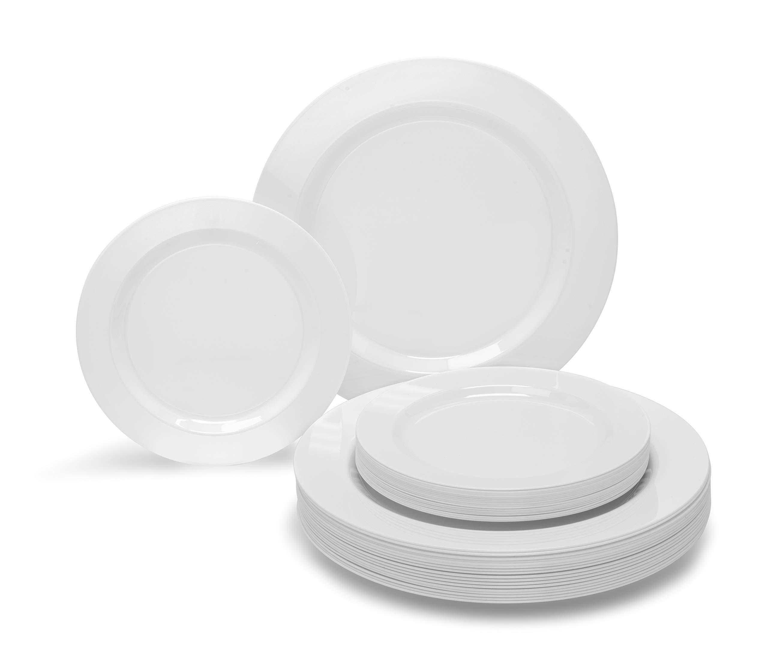 '' OCCASIONS'' 240 PACK Disposable Plastic Plates Set - 120 x 10.5'' Dinner + 120 x 7.5'' Salad/Dessert Plate (Plain White)
