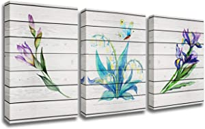 Wall Art for Living Room Abstract Lily of the Valley Watercolor Painting 3 Pieces Framed Canvas Wildflower Iris Flower Pictures Modern Artwork Ready to Hang for Home Kitchen Office Decor(42''Wx20''H)