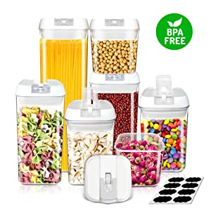 Frebw Lids Airtight Food Storage Container, 7-Pc sets, Free Chalkboard Labels, Durable Transparent BPA-free for Sugar Flour, Baking Supplies Dry Fresh Snacks Pantry Kitchen & Pantry Containers
