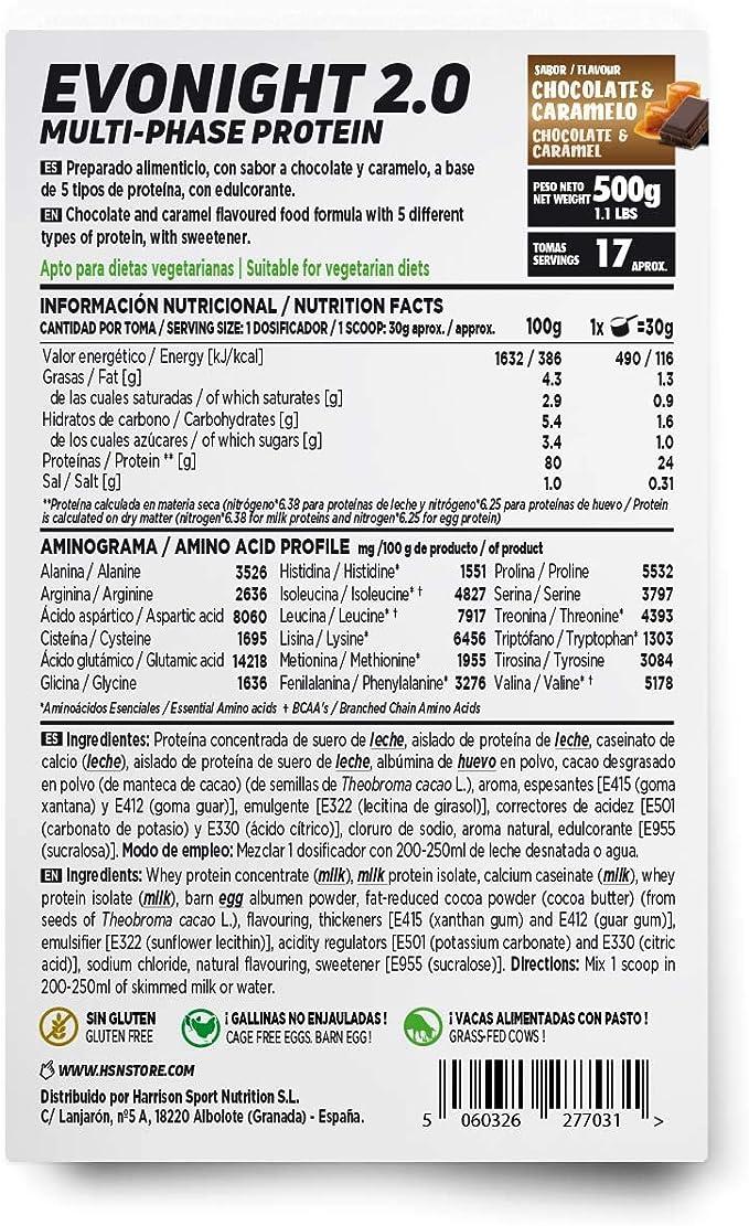Mezcla de Proteínas Evonight 2.0 de HSN | Proteína para Antes de Dormir | Con Whey Protein + Proteína de Leche + Caseinato de Calcio + Whey Protein ...