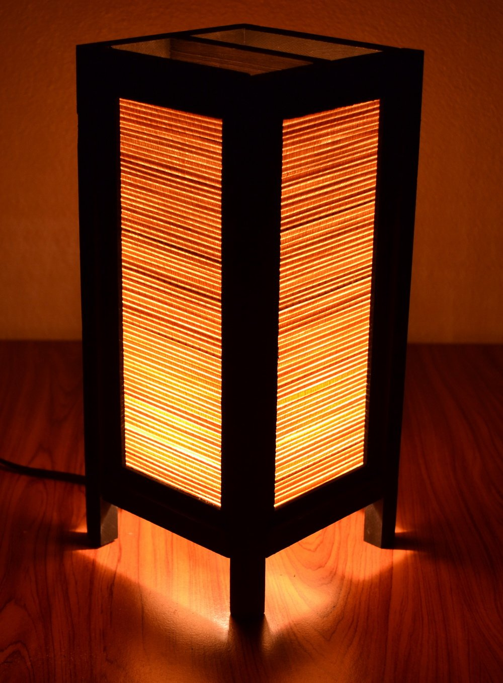 Decorative Lamp Thai Vintage Handmade Asian Oriental Original Bamboo Blind Bedside Table Light Floor Wood Paper Lamp Shades Home Bedroom Garden Decoration Modern Design by I Love Handicraft