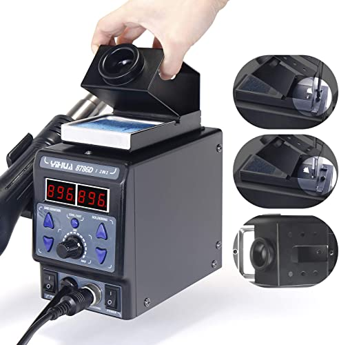 YIHUA 8786D I 2 in 1 Hot Air Rework and Soldering Iron Station with F C, Cool Hot Air Conversion, Digital Temperature Correction and Sleep Function