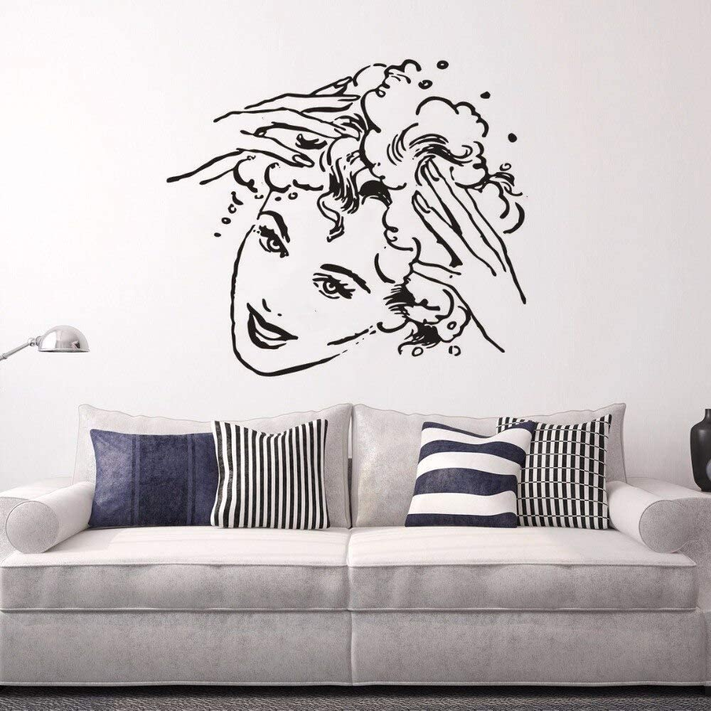 Geiqianjiumai Shampoo Logo Hair Girl Art Vinilo Adhesivo de Pared ...