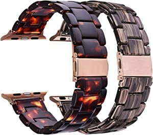 V-MORO 2 Pack Resin Band Compatible with Apple Watch Band 42/44mm Series 5/4/3/2/1 Women Men with Metal Stainless Steel Buckle,Apple iWatch Replacement Wristband Bracelet (Tortoise+Coffee, 42mm/44mm)