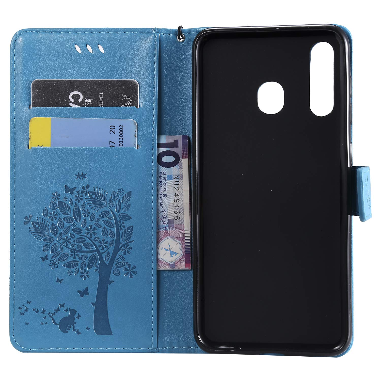 Leather Wallet Case with Kickstand Card Holder Shockproof Flip Case Cover for Samsung Galaxy A20 A30 A30 Case LOKTU080021 Blue Lomogo Samsung Galaxy A20