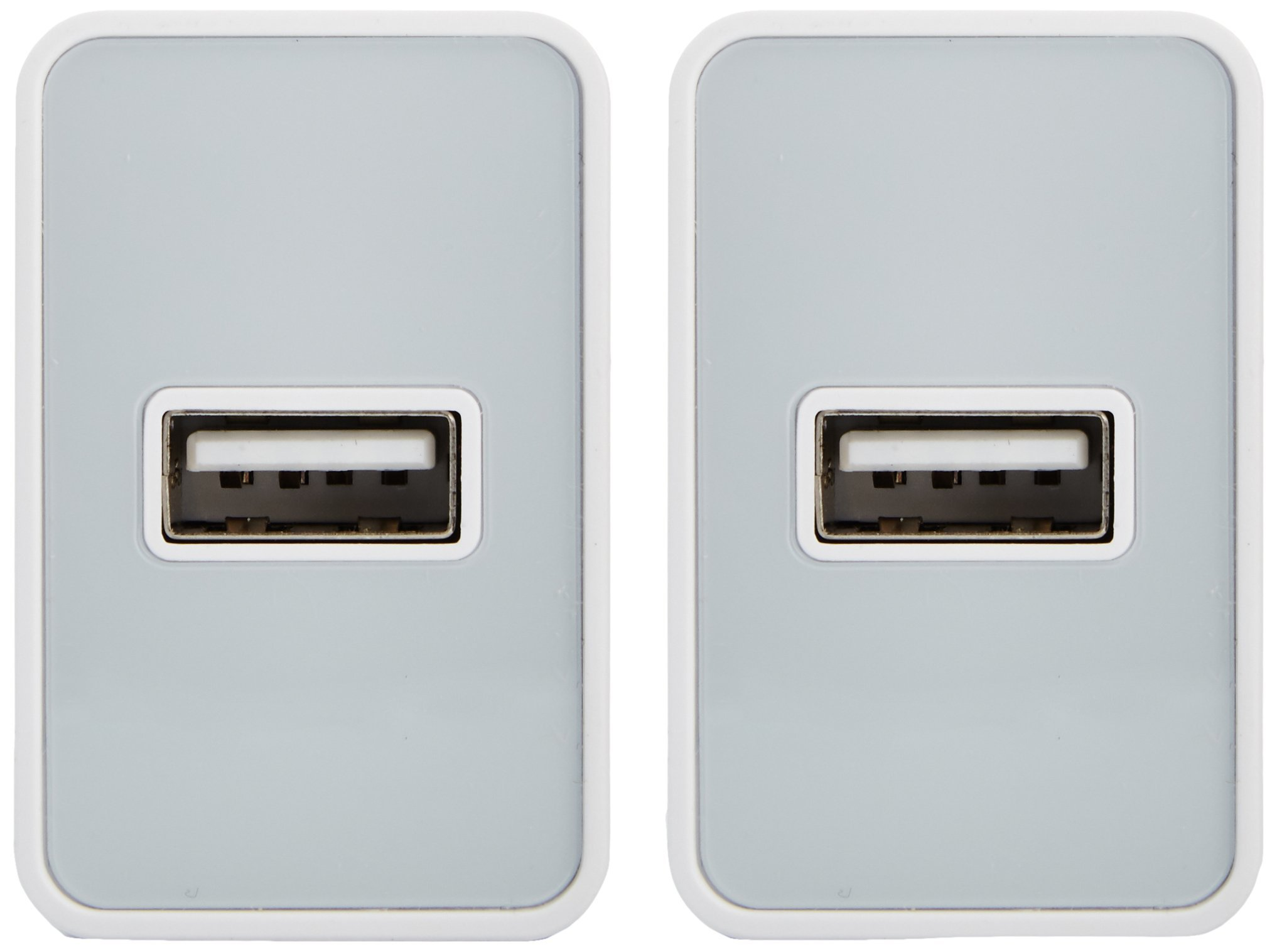 AmazonBasics One-Port USB Wall Charger (12-Watt) Compatible With iPhone and Samsung Phones - White (2-Pack) by AmazonBasics (Image #3)