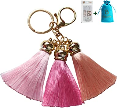 Bolbove Fur Ball Deep Purple Multicolor Tassels Keychain Backpack Keyring Purse Pendant Handbag Charm