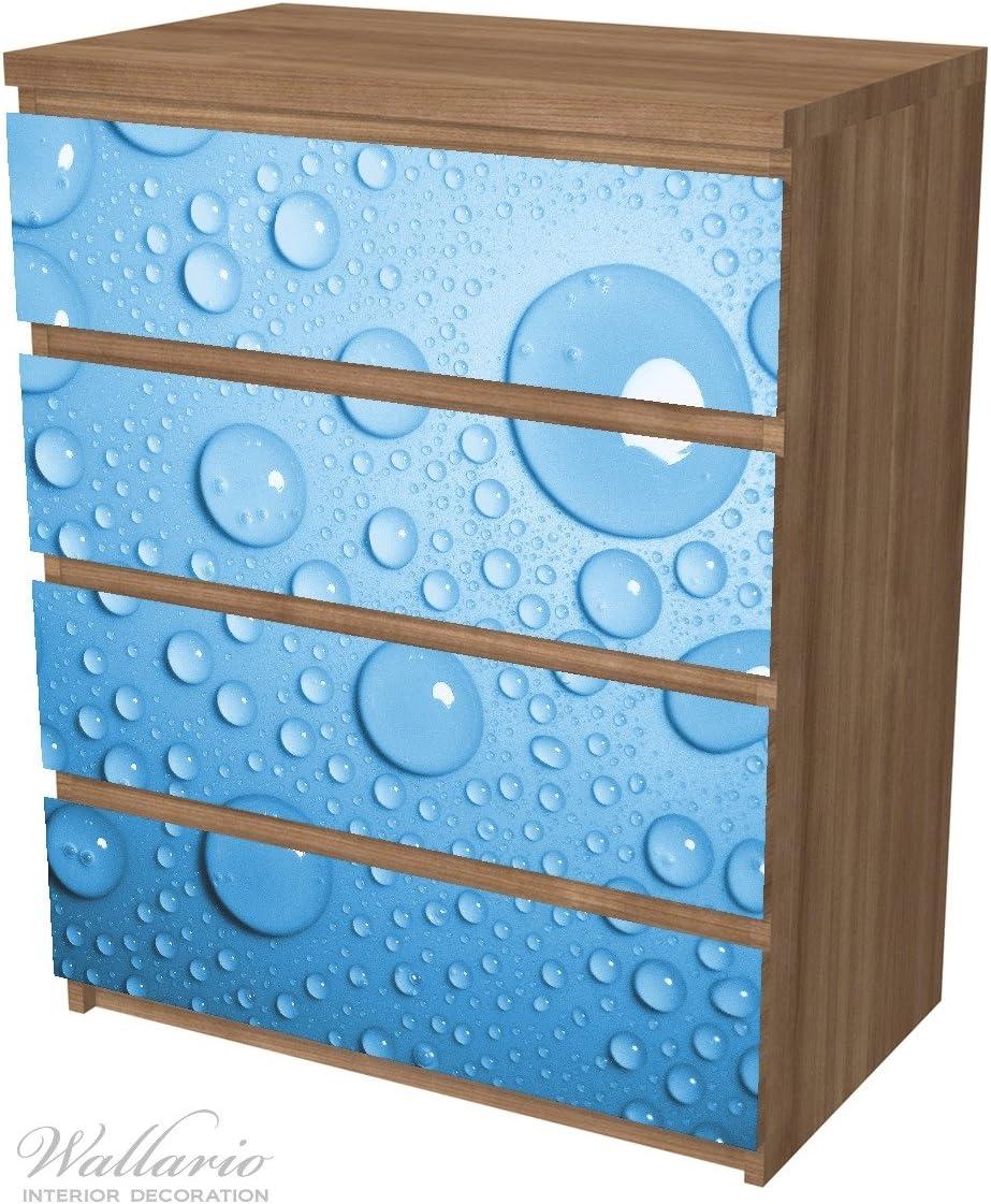 Wallario M/öbelfolie//Aufkleber geeignet f/ür IKEA Malm Kommode Wassertropfen auf Blau mit 4 Schubf/ächern