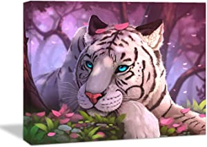 Looife Animals Canvas Wall Art, 18x12 Inch A Tiger with Pink Background Picture Prints Wall Decor Stretched on Wooden Frame, Home Deco for Nursery and Bedroom