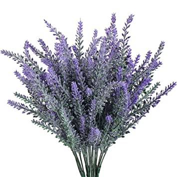 Artificial Flower Flocked Lavender Bouquet Arrangements For Home Decor And Wedding Decorations 6 Pcs