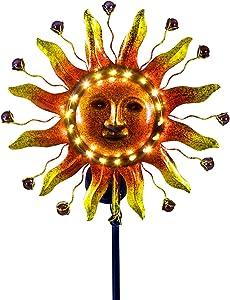 Solar Garden Decorations, Sun Solar Lights Outdoor Waterproof Metal Sun Face Decorative Garden Stake Lights for Walkway,Yard,Lawn,Patio Landscape