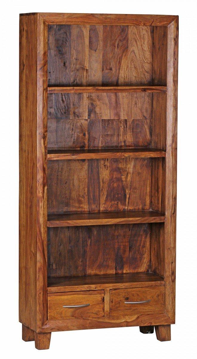 WOHNLING Bücherregal Massiv Holz Sheesham 80 X 180 Cm Wohnzimmer Regal  Ablageföcher Design Landhaus Stil Standregal Natur Produkt Wohnzimmermöbel  Unikat ...