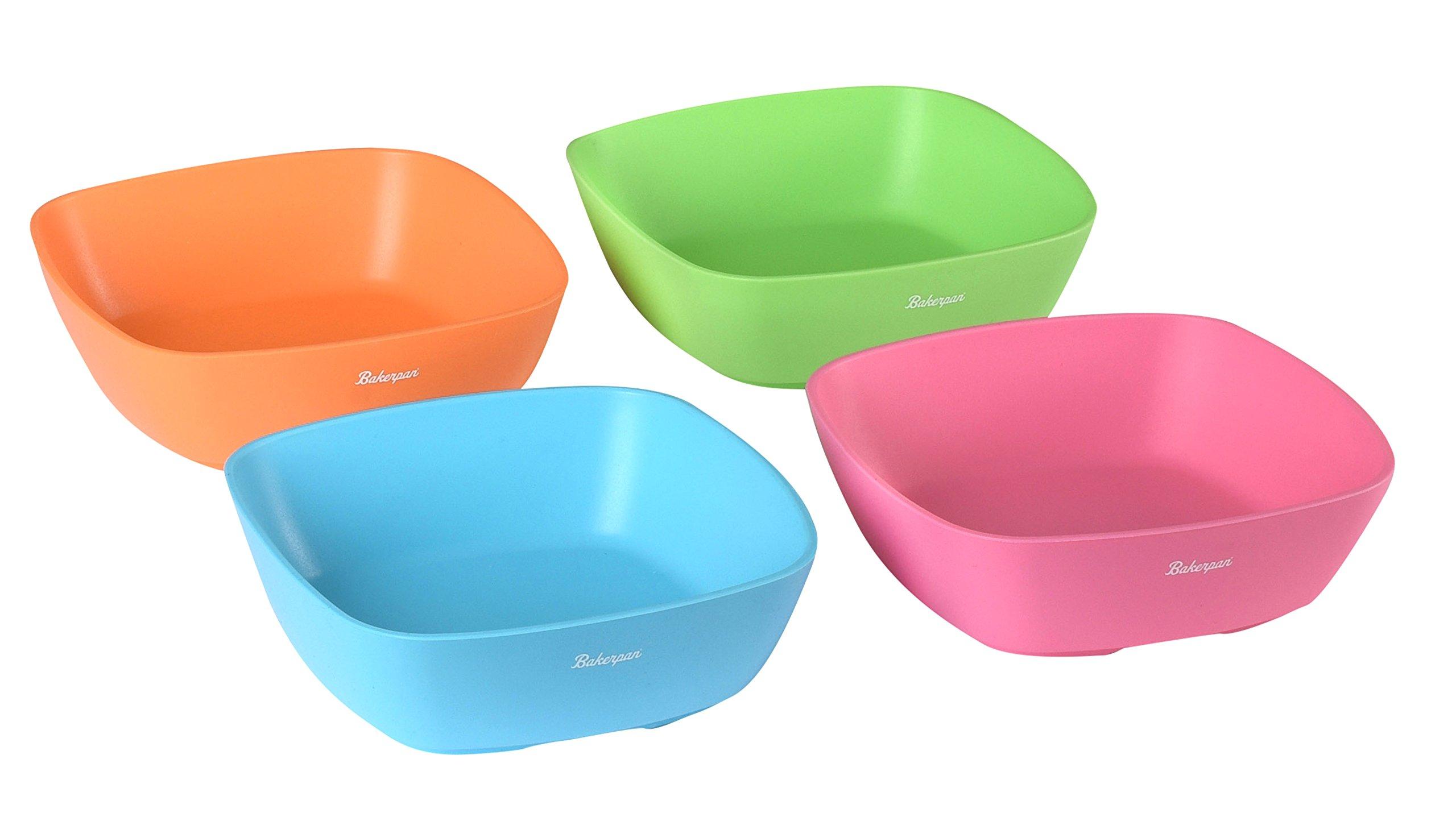 Bakerpan Silicone Toddler Square Feeding Bowl, Set of 4 (Multi)