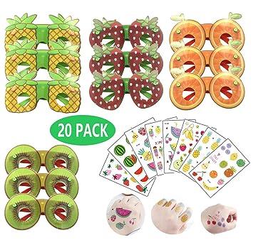 Gafas de sol JumDaQ para fiesta de frutas, tatuajes temporales ...
