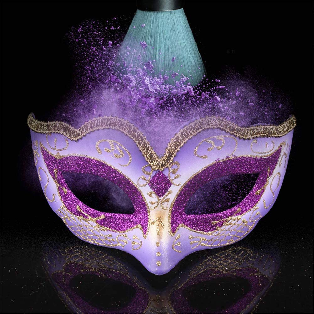 BVAGSS 2PCS Luxury Womens Masquerade Mask for Halloween Cosplay Party Mardi Gras Carnival JA025