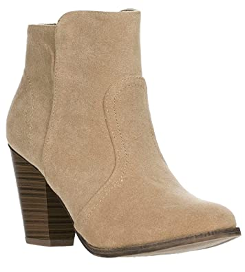 76911cd478a89 Breckelle's HEATHER-34 Beige Faux Suede Chunky Heel Ankle Booties Taupe-New  (5.5