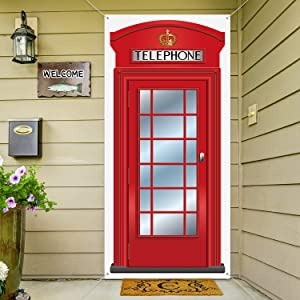 English Phone Booth Door Cover, Large Fabric Red Telephone Box Door Cover Home Jointed Phone Box Decor Banner for Photo Backdrop British International Themed Party Favors, 78.7 x 35.4 Inch