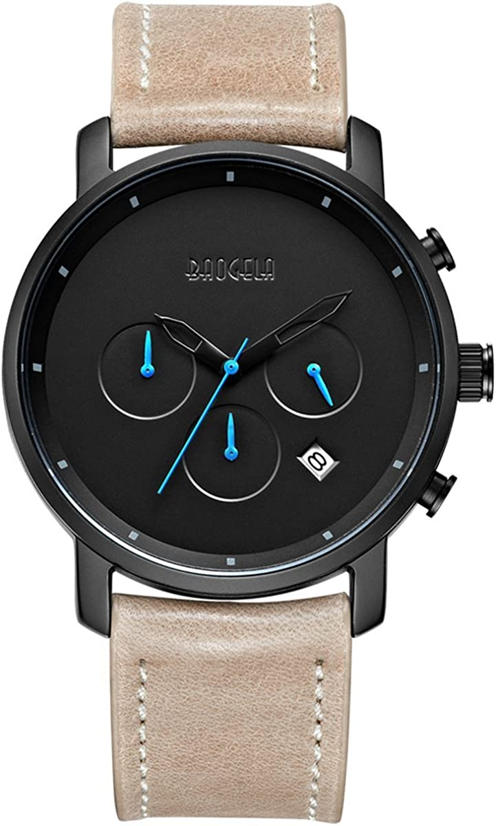 Watches Men Fashion Brown Leather Strap Blue Pointer Chronograph Waterproof Date – AIMAL