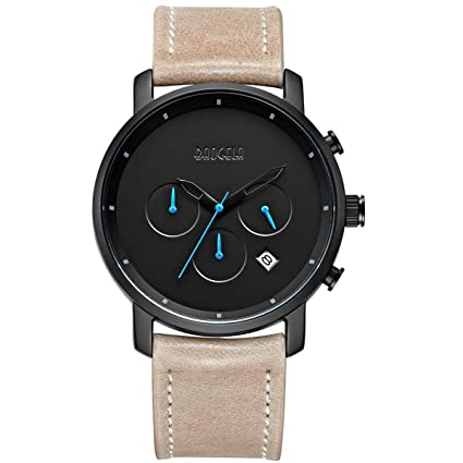 Watches Men Fashion Brown Leather Strap Blue Pointer Chronograph Waterproof Date   Aimal by Aimal