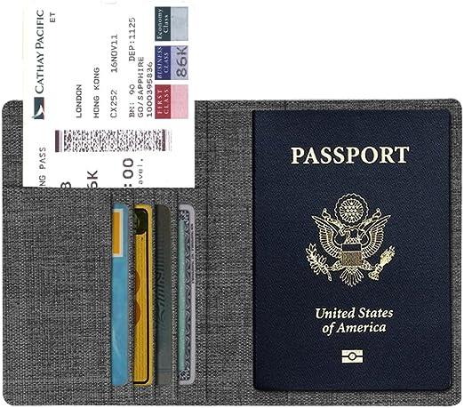 Fintie Funda de Pasaporte - Carcasa para Pasaporte de Tela con Billetera para Tarjeta de Crédito, Tarjetas de Visita, Pases de Embarque,Tarjeta Médica, Tela Gris Marengo: Amazon.es: Equipaje