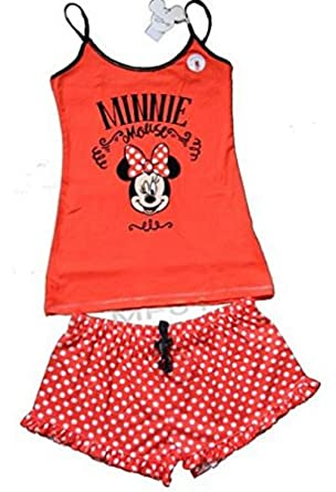 Primark Ladies Girls Womens Disney Minnie Mouse RED CAMI Vest Shorts Pajamas Pyjamas PJ Set UK