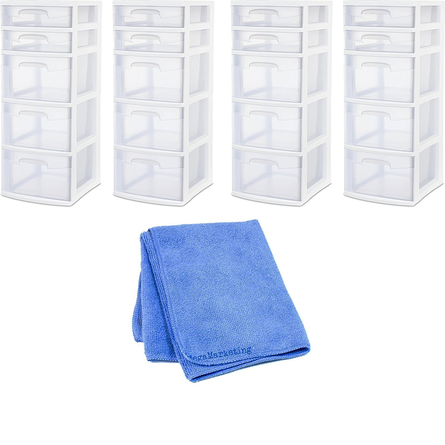 Sterilite 28958002 5 Drawer Tower, White Frame with Clear Drawers, 4-Pack with Dust Cleaner Cloth